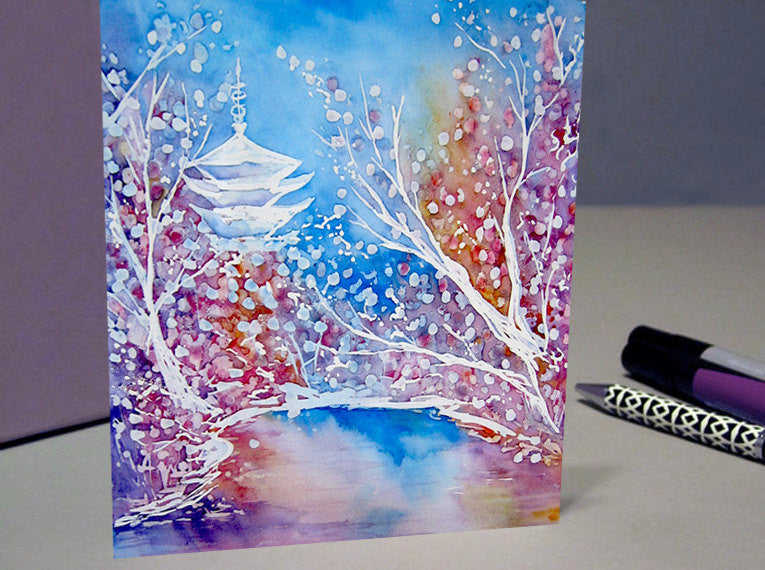 Japanese Temple Cherry Blossom Landscape Painting - Reproduction Art Card - Brazen Design Studio