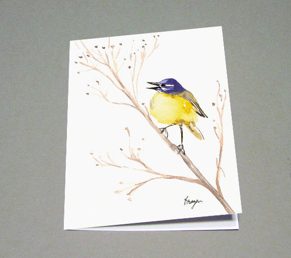 Yellow Wagtail Card - Wildlife Bird Sumi-e - Watercolor Fine Art Card - Brazen Design Studio