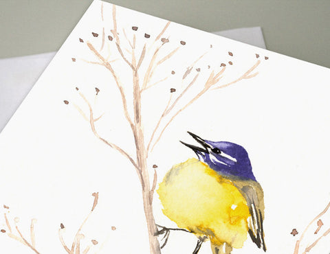 New Beginnings Greeting Card - Blue Robin Egg Painting - Art Card