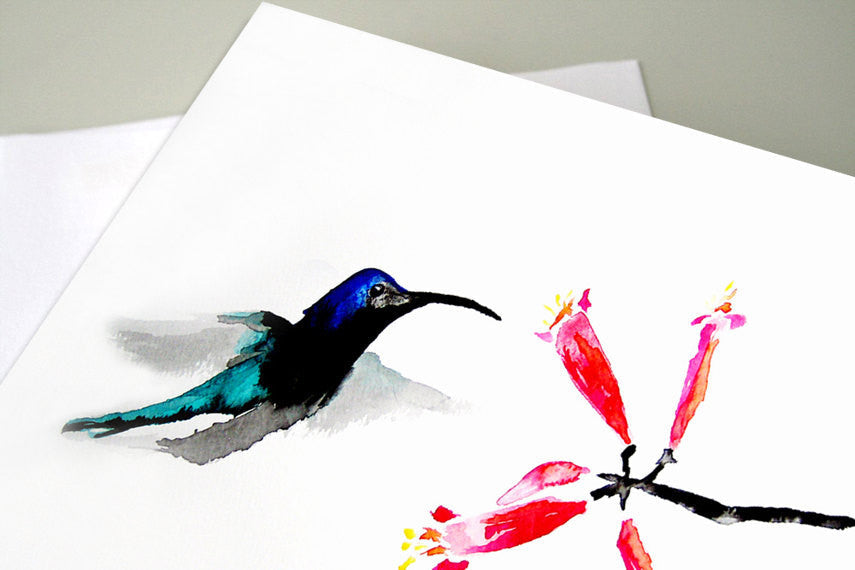 Greeting Card - Hummingbird with Honeysuckle Sumi-e Art Card - Brazen Design Studio