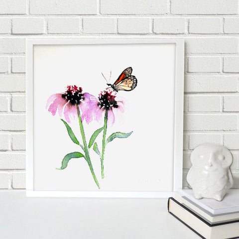 Monarch Butterfly Art - Echinacea Floral Watercolor Painting Art Print - Brazen Design Studio