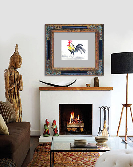 Cockrel Rooster Bird - Sumi-e Painting Art Print - Brazen Design Studio