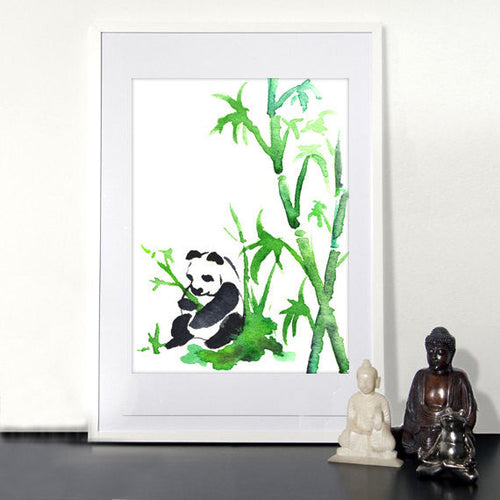 Watercolor Painting - Panda Bear - Bamboo Zen - Fine Art Print - Brazen Design Studio