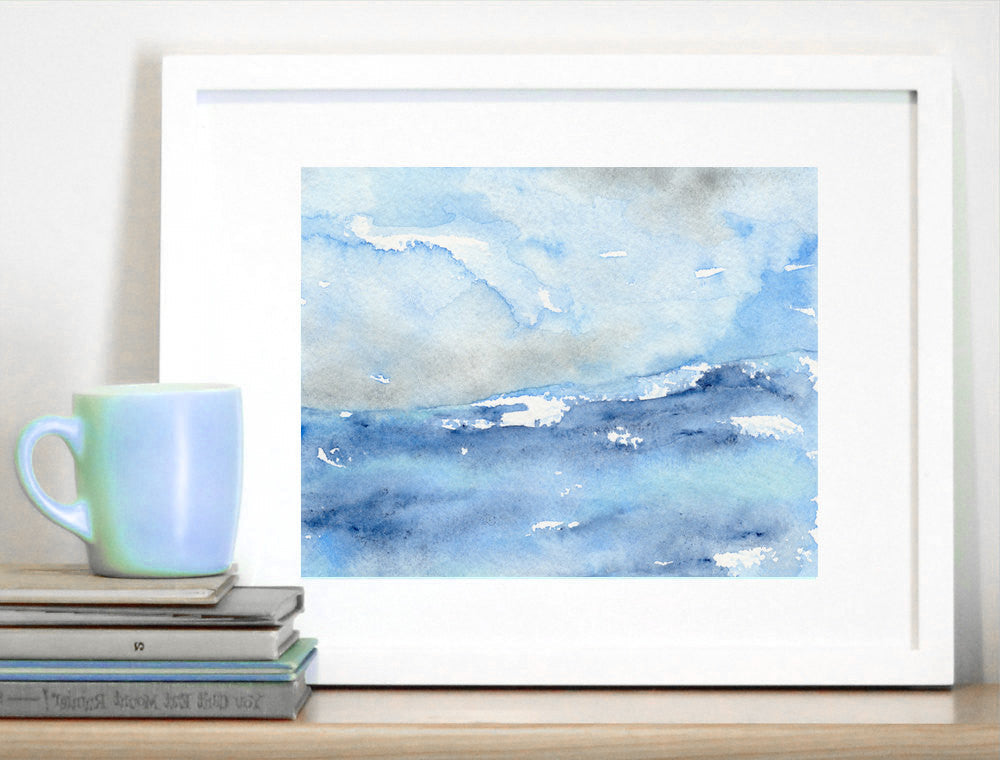 Watercolor Painting - Tempest Ocean Wave - Blue Seascape Art Print - Brazen Design Studio