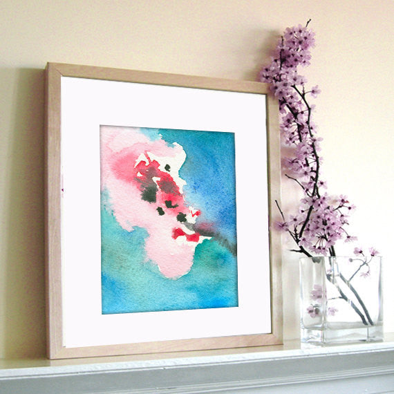 Watercolor Painting - Cherry Blossom Abstract Art Print - Pink Blue Home Decor - Brazen Design Studio