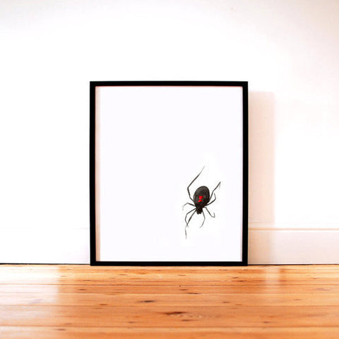 Ink Painting Art Print - Black Widow Spider Minimalist Sumi-e Print - Brazen Design Studio