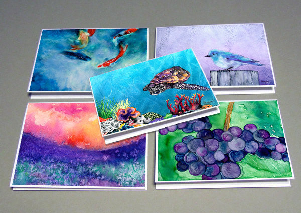 Set of 5 Greeting Cards  - Personalized Pick ANY FIVE Paintings - Blank Reproduction Art Cards - Brazen Design Studio