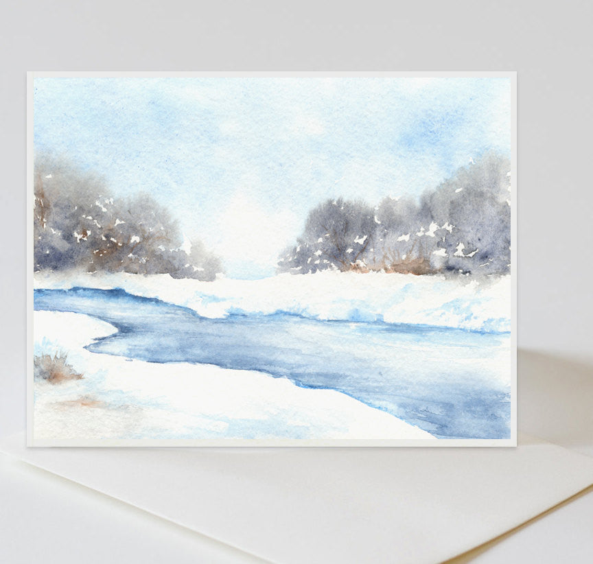 Mid Winter Landscape Painting Art Card - Brazen Design Studio