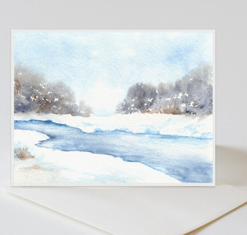 Lavender Trees Winter Landscape Painting Art Card
