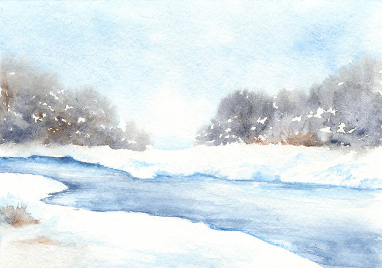 Watercolor Painting - Winter Creek Landscape - Art Print - Brazen Design Studio