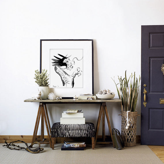 Ink Painting - Dragon Sumi-e - Featured in Etsy Finds - Art Print - Brazen Design Studio