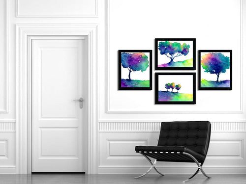 Watercolor Painting - Rainbow Tree Trio - Modern Contemporary Art Print - Brazen Design Studio