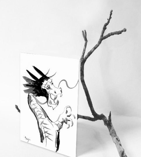 Dragon Card - Chinese Dragon Asian Art Sumi-e Art Card - Brazen Design Studio