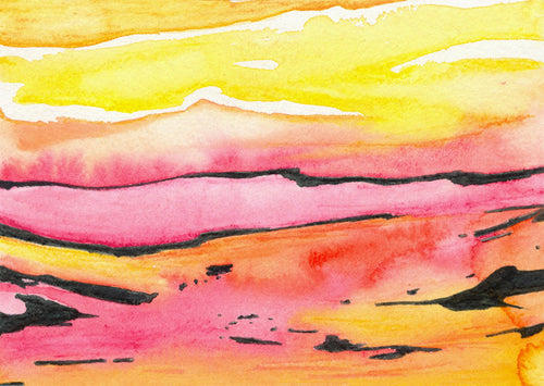 Watercolor Painting - Abstract Art Pattern Land Lines Landscape Print - Brazen Design Studio