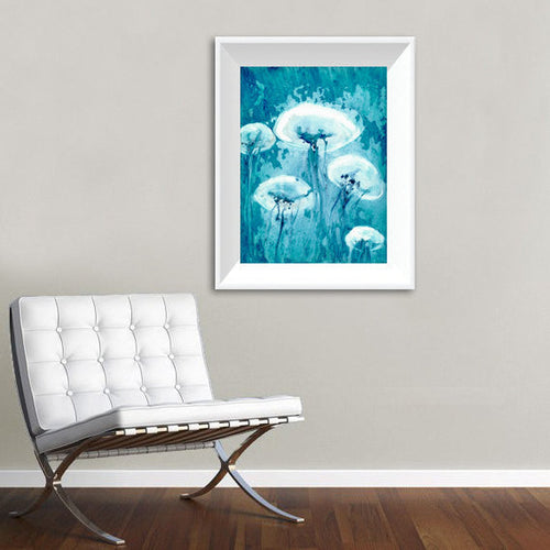 Jellyfish Art - Watercolor Painting - Teal Blue Contemporary Sea Creature Art Print - Brazen Design Studio