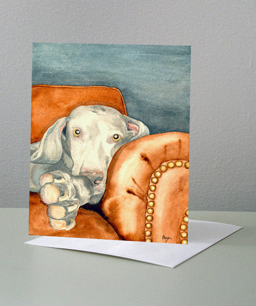 Weimaraner Dog Art Card - Pet Portrait Painting - Brazen Design Studio