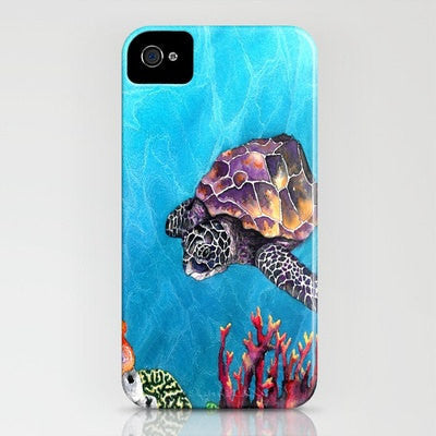 Sea Turtle iPhone Samsung Case - Ocean Life Watercolor Painting - Cell Phone Cover