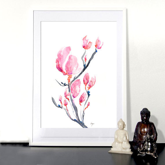 Watercolor Painting - Japanese Magnolia Floral Sumi-e Art Print - Brazen Design Studio
