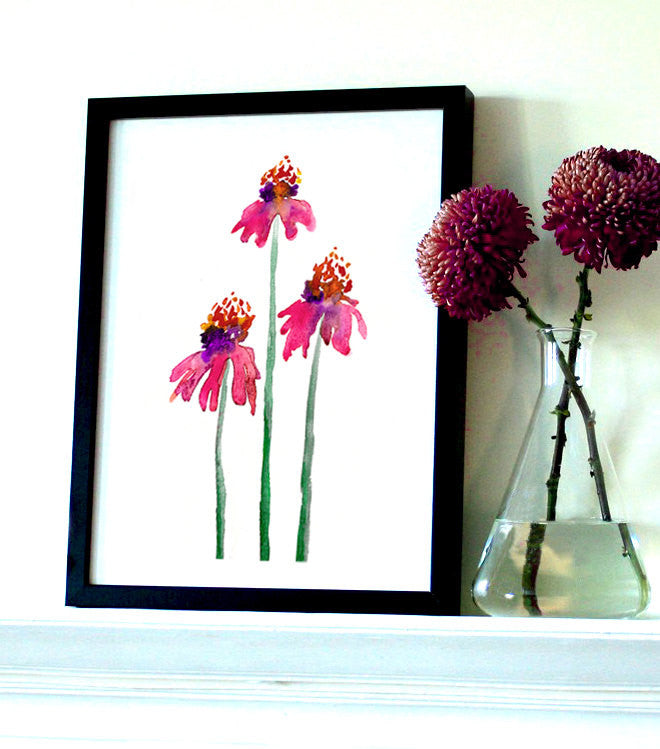 Echinacea Floral Watercolor Painting - Pink Orange Coneflowers Art Print - Brazen Design Studio