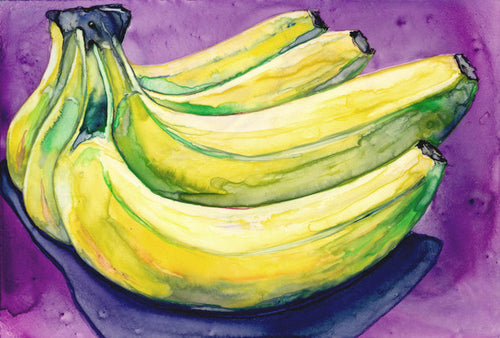 Still Life Watercolour Painting - Banana Bunch - Still Life Fruit Food Art Print - Brazen Design Studio