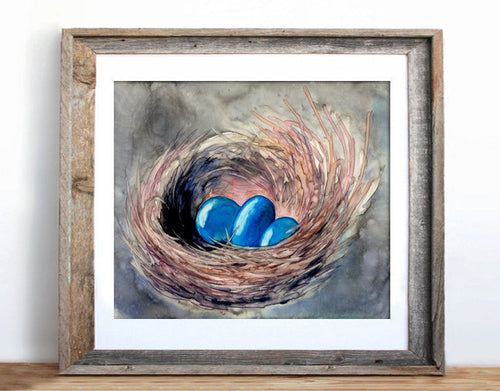 Bird Nest Watercolor Painting - Blue Robin Eggs Nature Art Print - Brazen Design Studio