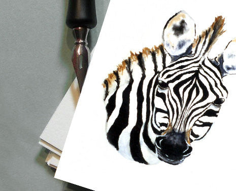 Greeting Card - Zebra African Wildlife Watercolour - Reproduction Art Card - Brazen Design Studio