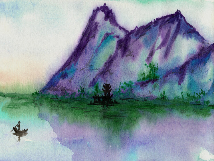 Watercolor Landscape Painting - Fishing At Dawn Seascape Scenic Sumi-e Print - Brazen Design Studio