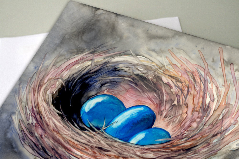 New Beginnings Greeting Card - Blue Robin Egg Painting - Art Card - Brazen Design Studio