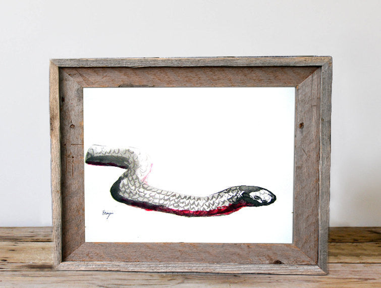 Year of the Snake Painting - Red Bellied Black Snake - Modern Minimalist Sumi-e Japanese Ink Print - Brazen Design Studio
