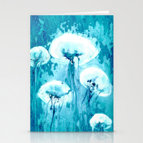Jellyfish Art Card Ocean Life Water Painting - Brazen Design Studio