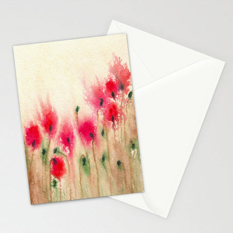 Floral Art Card - Red Poppies Watercolor Painting - Blank Inside - Brazen Design Studio