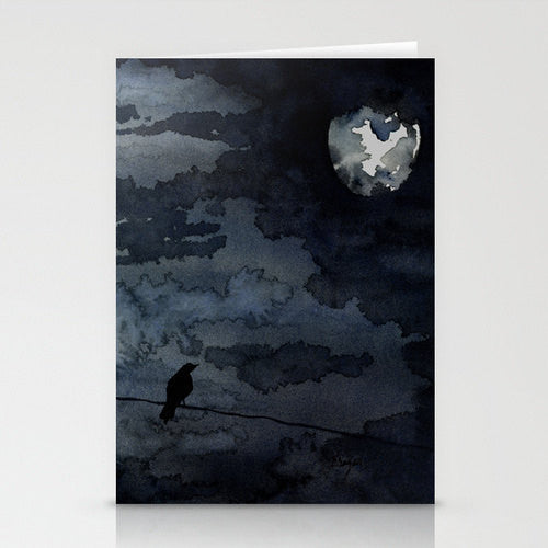Raven Art Card Dramatic Sky Watercolor Painting - Brazen Design Studio