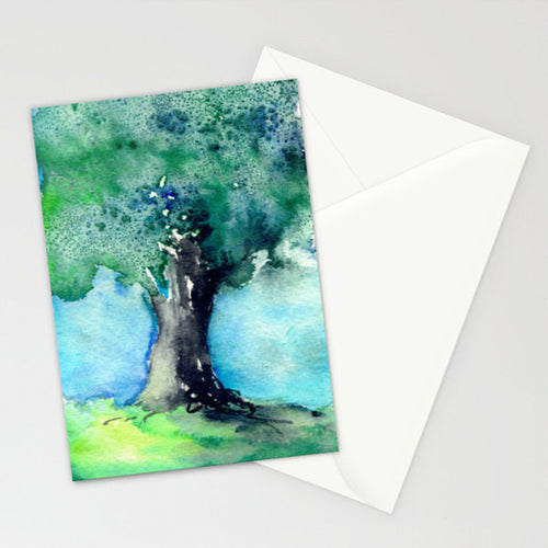 Majestic Oak Tree Watercolor Painting Art Card - Brazen Design Studio