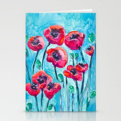 Red Blue Poppies Watercolor Art Card - Brazen Design Studio