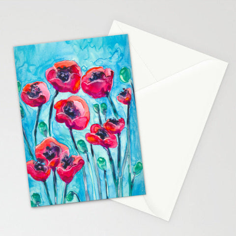 Red Poppies Floral Watercolor Painting Art Card