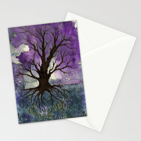 Raven Art Card Dramatic Sky Watercolor Painting