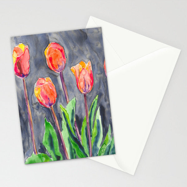 Orange Tulips Art Card - Floral Garden Watercolor Painting - Brazen Design Studio