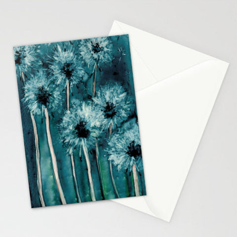Red Blue Poppies Watercolor Art Card