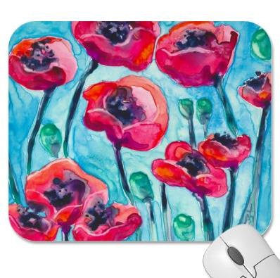 Mousepad   Red Poppy Sky Painting   Art For...