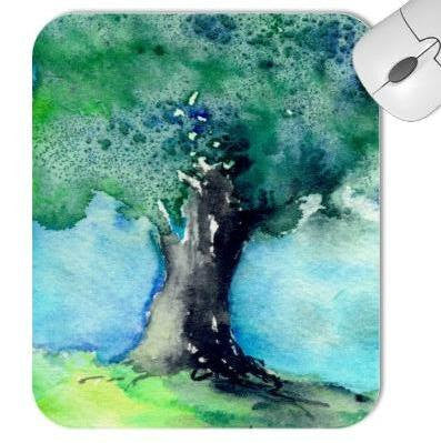 Mousepad - Green Oak Tree Landscape Watercolor Painting - Reproduction Art for Home or Office - Brazen Design Studio