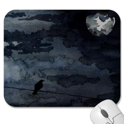 Mousepad - Raven Full Moon Painting - Art for Home or Office - Brazen Design Studio