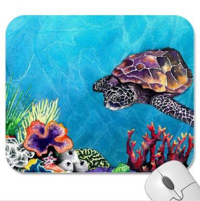 Mousepad - Sea Turtle Ocean Wildlife Painting - Art for Home or Office - Brazen Design Studio