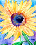 Sunflower Watercolor Painting - Vibrant Floral Flowers Fine Art Print - Brazen Design Studio