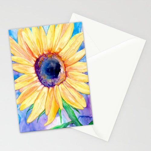 Sunflower Art Card - Orange Yellow Floral Painting - Brazen Design Studio