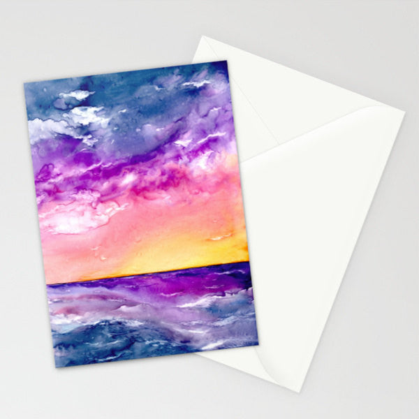Sunset Storm Art Card - Orange Yellow Seascape Painting - Blank Inside - Brazen Design Studio