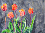 Watercolor Painting - All in a Row - Orange Tulips - Still Life Floral Art Print - Brazen Design Studio
