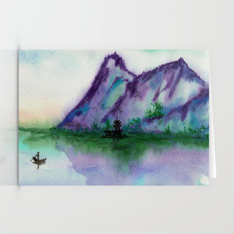 Serenity - Cabin in the Mountains Landscape Painting Reproduction Art Card