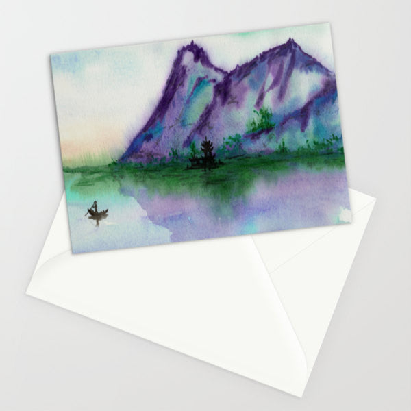 Fishing Boat Seascape Sumi-e Art Card - Brazen Design Studio