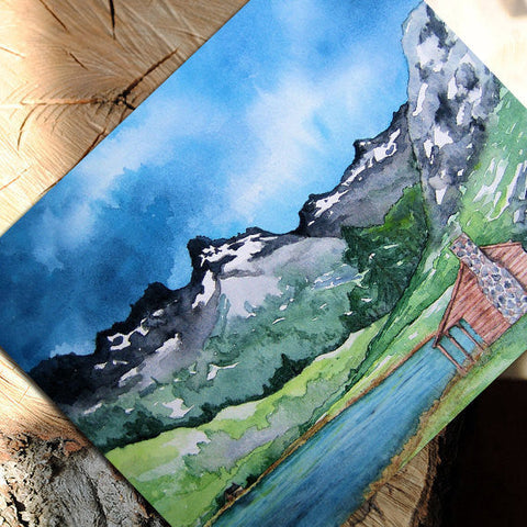 Serenity - Cabin in the Mountains Landscape Painting Reproduction Art Card - Brazen Design Studio
