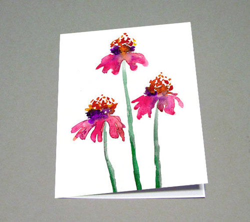 Echinacea Watercolour Greeting Card - Reproduction Art Card - Brazen Design Studio